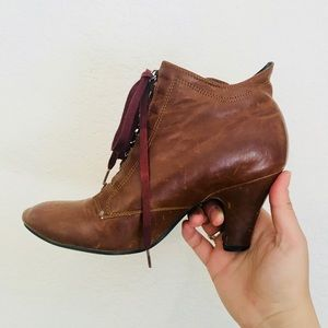 Vintage boho leather ankle boots booties heels